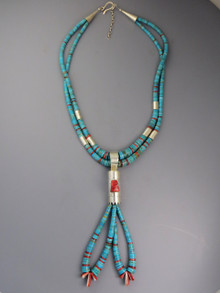 Santo Domingo Turquoise and Sponge Coral Jacla Heishi Necklace by Daniel Coriz