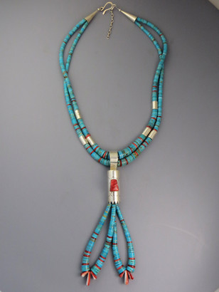 Santo Domingo Turquoise and Sponge Coral Jacla Heishi Necklace by Daniel Coriz