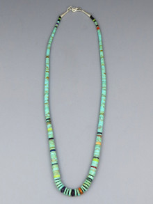 "Turquoise Gemstone Heishi Necklace 20"" by Santo Domingo artist, Ronald Chavez"