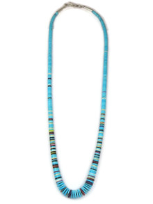 "Turquoise Gemstone Heishi Necklace 23 1/2"" by Santo Domingo Ronald Chavez"