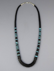 "Jet Turquoise Heishi Necklace 20"" by Santo Domingo Artist Ronald Chavez"