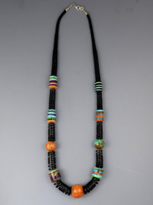 "Jet Gemstone Inlay Bead Heishi Necklace 26"" by Santo Domingo Artist, Ronald Chavez"