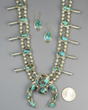 Natural Royston Turquoise Squash Blossom Necklace Set by Lucy Valencia