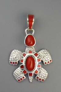 Natural Mediterranean Coral Turtle Pendant by Vernon Haskie