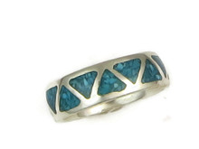 Turquoise Chip Inlay Ring Size 8