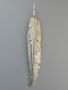 Large Silver Feather Pendant 6""