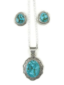 Front view of natural Turquoise Mountain gem pendant and earring set