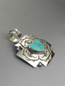 Large Silver Cross Turquoise Heart Pendant by Elgin Tom