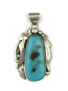 Silver Kingman Turquoise Pendant by Ted Secatero