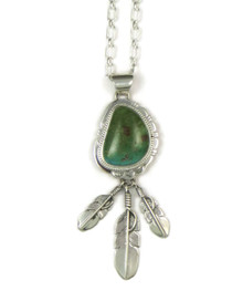 Sterling Silver Green Royston Turquoise Feather Pendant by John Nelson