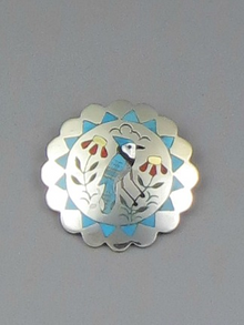 Blue Jay Inlay Pendant & Pin by Zuni Artist Samuel Guardien