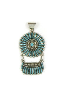 Turquoise Needle Point Pendant by Zuni Artist, Carla Consello