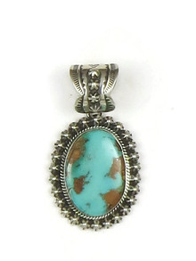 Handmade Natural Pilot Mountain Turquoise Pendant by Happy Piaso