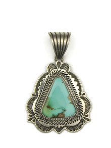Front view of natural Pilot Mountain turquoise pendant handmade by Navajo artist, Albert Jake.
