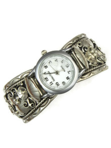 Silver Watch Cuff Bracelet by Freddie James