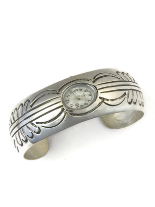 Sterling Silver Watch Cuff Bracelet by Carson Blackgoat (WTH3501)