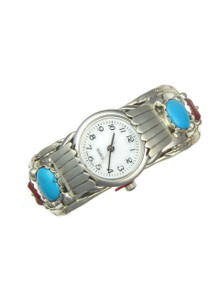 Turquoise Coral Watch Cuff Bracelet