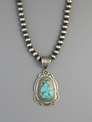 Handmade Brown Web Pilot Mountain Turquoise Pendant by Albert Jake