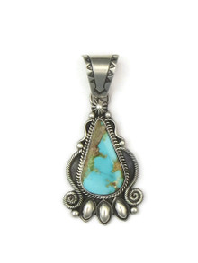 Front view of handmade natural Pilot Mountain Turquoise pendant by Derrick Gordon.