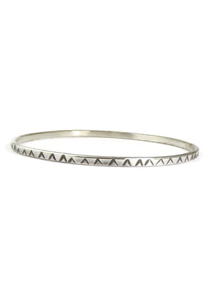 Hand Stamped Silver Bangle Bracelet by Elaine Tahe (5514)