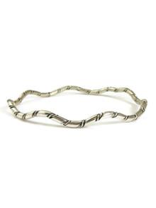 Silver Wave Bangle Bracelet by the Tahe Family