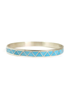 Turquoise Inlay Bangle Bracelet by Zuni Artist Claudine Haloo