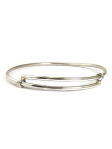 Silver Adjustable Bangle Bracelet by Elaine Tahe