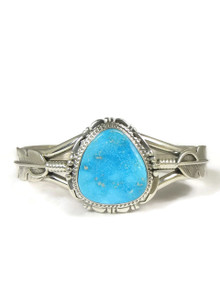Kingman Turquoise Silver Feather Bracelet by John Nelson (BR5534)
