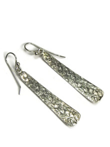 Sterling Silver Textured Pattern Drop Earrings by Diane Wylie
