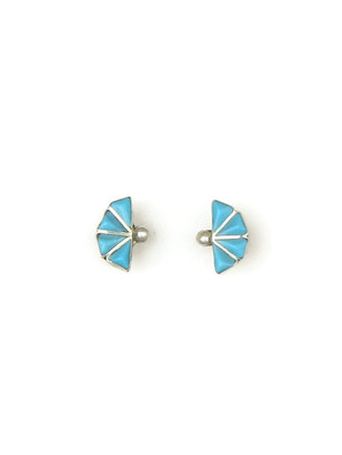 Small Turquoise Inlay Stud Earrings by Zuni, Michele Quetawki