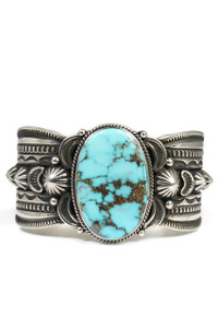 Natural Pilot Mountain Turquoise Cuff Bracelet by Gene Natan