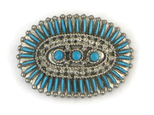 Turquoise Needlepoint Hair Barrette by Zuni Artist, Terry Locasion
