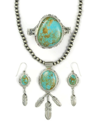 Manassa Turquoise Silver Feather Necklace Set by John Nelson (NK4450)