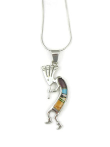 Sterling silver Kokopelli pendant inlaid with turquoise, jet, opal and spiny oyster shells.
