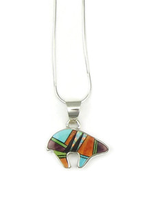 Reversible Gemstone Inlay Bear Pendant