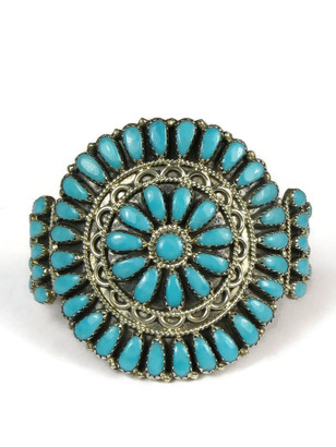 Turquoise Petit Point Cluster Bracelet by Zeita Begay