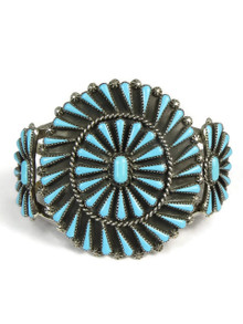 Turquoise Petit Point Cluster Bracelet by Zuni Artist, Carlos Tsipa