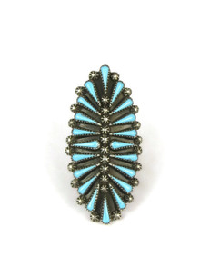 Turquoise Petit Point Cluster Ring Size 9 by Zuni Artist, Carlos Tsipa