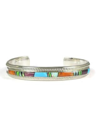 Multi Gemstone Inlay Bracelet by Thomas Francisco (5550)