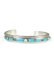 Turquoise, Opal & Jet Inlay Bracelet by Thomas Francisco (5552)