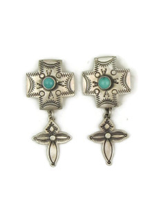 Hand stamped cross earrings with Kingman turquoise by Jerry Platero.