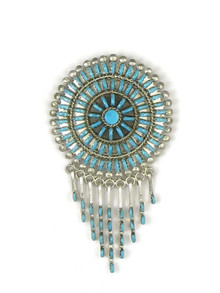 Turquoise Needle Point Cluster Pendant Pin by Zuni Keith Leekity