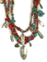 Coral, Turquoise & Silver Feather Treasure Necklace by Lena Platero