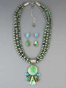 Natural Royston Turquoise Pendant Necklace Earring Set by LaRose Ganadonegro