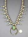 Pilot Mountain Turquoise Squash Blossom Necklace by Eugene Hale
