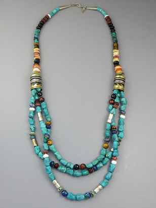 Three Strand Turquoise & Gemstone Bead Necklace 30 Inch by Thomas Singer