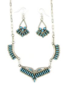 Turquoise Needle Point Necklace & Earring Set Zuni