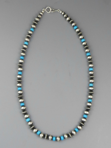 "Sleeping Beauty Turquoise & Silver Bead Necklace 20"" Navajo"
