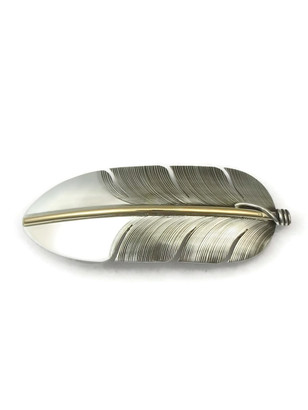 12k Gold & Sterling Silver Feather Hair Barrette by Lena Platero