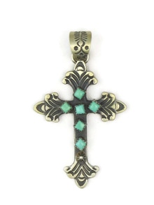 Handmade Turquoise & Silver Cross by K. Billah